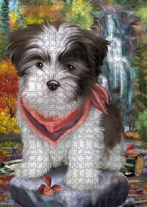 Scenic Waterfall Malti Tzu Dog Puzzle with Photo Tin PUZL54399