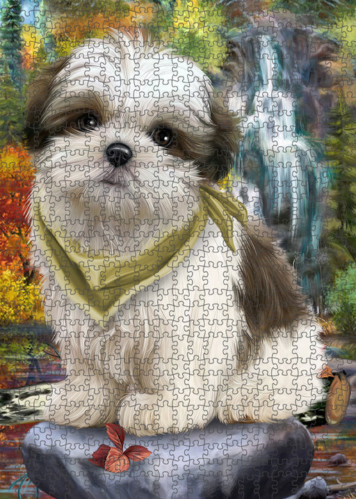 Scenic Waterfall Malti Tzu Dog Puzzle with Photo Tin PUZL54402
