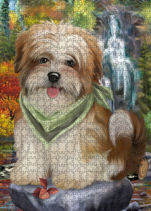 Scenic Waterfall Malti Tzu Dog Puzzle with Photo Tin PUZL54405