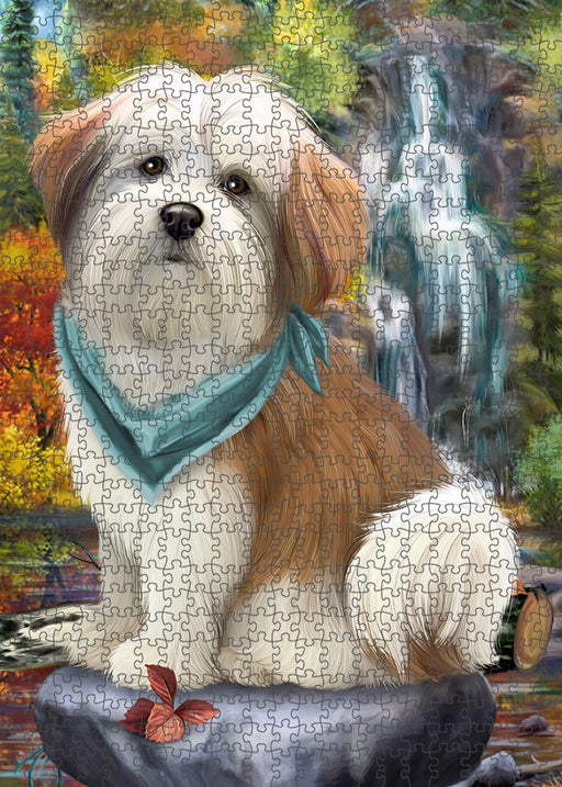 Scenic Waterfall Malti Tzu Dog Puzzle with Photo Tin PUZL54408