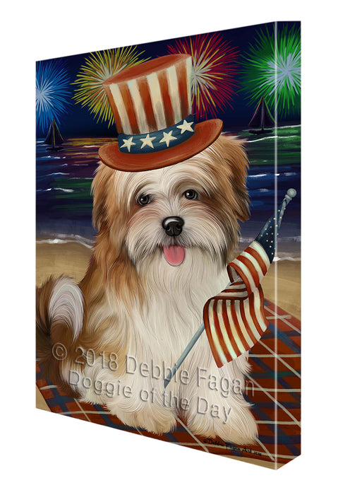 4th of July Independence Day Firework Malti Tzu Dog Canvas Wall Art CVS56091