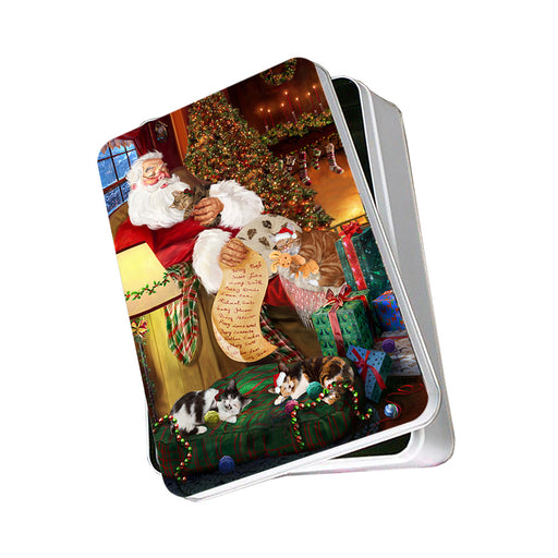 Santa Sleeping with Manx Cats Christmas Photo Storage Tin PITN52817