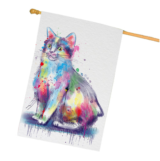Watercolor Manx Cat House Flag FLG66176