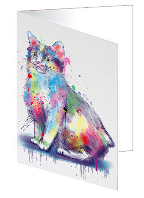 Watercolor Manx Cat Note Card NCD79106