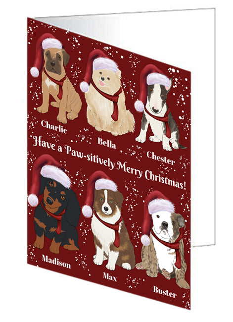 Custom Personalized Cartoonish Pet Photo and Name on Greeting Card in Merry Christmas Background