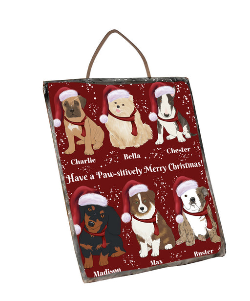 Custom Personalized Cartoonish Pet Photo and Name on Photo Slate in Merry Christmas Background