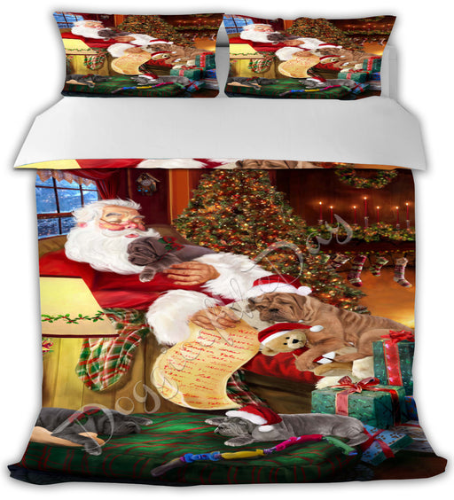 Santa Sleeping with Neapolitan Mastiff Dogs Bed Duvet Cover DVTCVR49771
