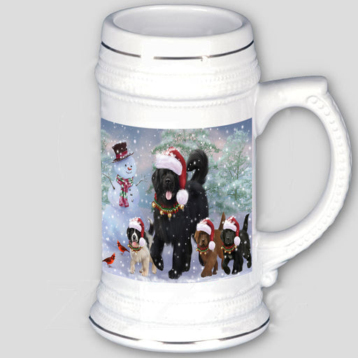 Christmas Running Family Newfoundlands Dog Beer Stein BST53680