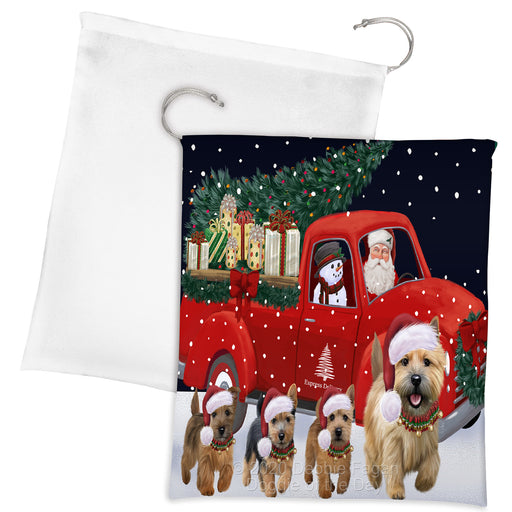 Christmas Express Delivery Red Truck Running Norwich Terrier Dogs Drawstring Laundry or Gift Bag LGB48913