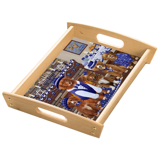 Happy Hanukkah Family Nova Scotia Duck Toller Retriever Dogs Wood Serving Tray with Handles Natural TRA49862
