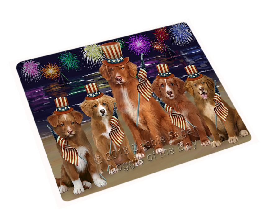"4th of July Independence Day Firework Nova Scotia Duck Toller Retrievers Dog Magnet MAG76038 (Mini 3.5"" x 2"")"