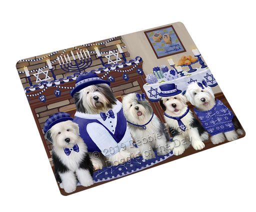 Happy Hanukkah Family Old English Sheepdogs Refrigerator / Dishwasher Magnet RMAG108168