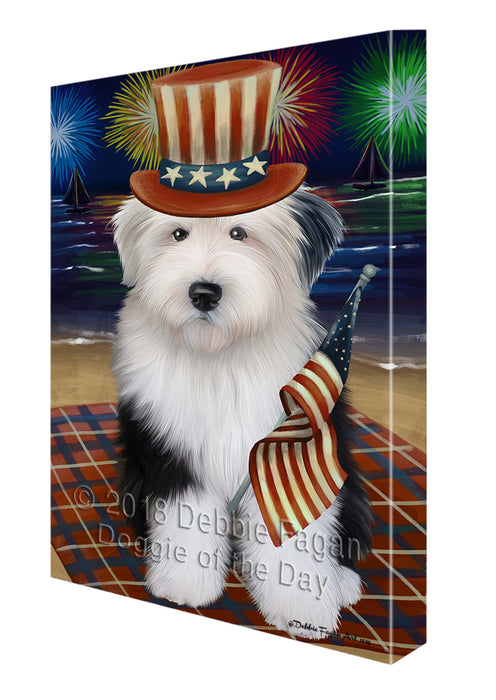 4th of July Independence Day Firework Old English Sheepdog Canvas Wall Art CVS56136