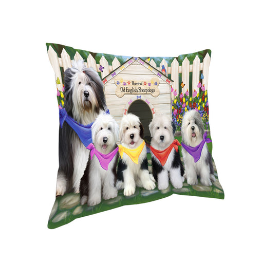 Spring Dog House Old English Sheepdogs Pillow PIL55536