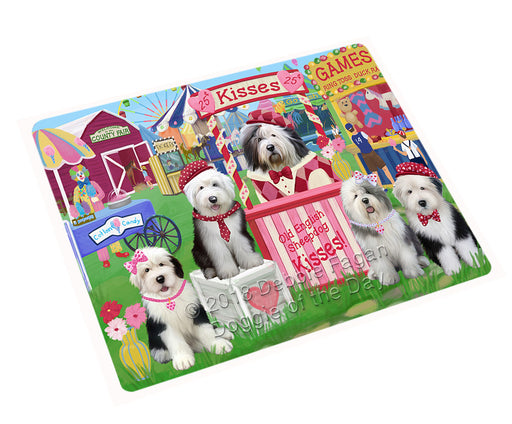Carnival Kissing Booth Old English Sheepdogs Cutting Board C72867