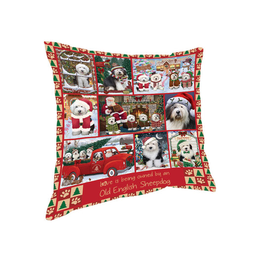 Love is Being Owned Christmas Old English Sheepdogs Pillow PIL85820