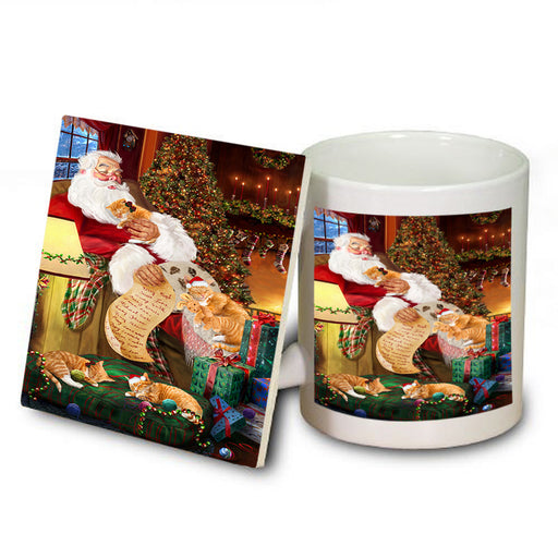 Santa Sleeping with Orange Tabby Cats Christmas Mug and Coaster Set MUC52811