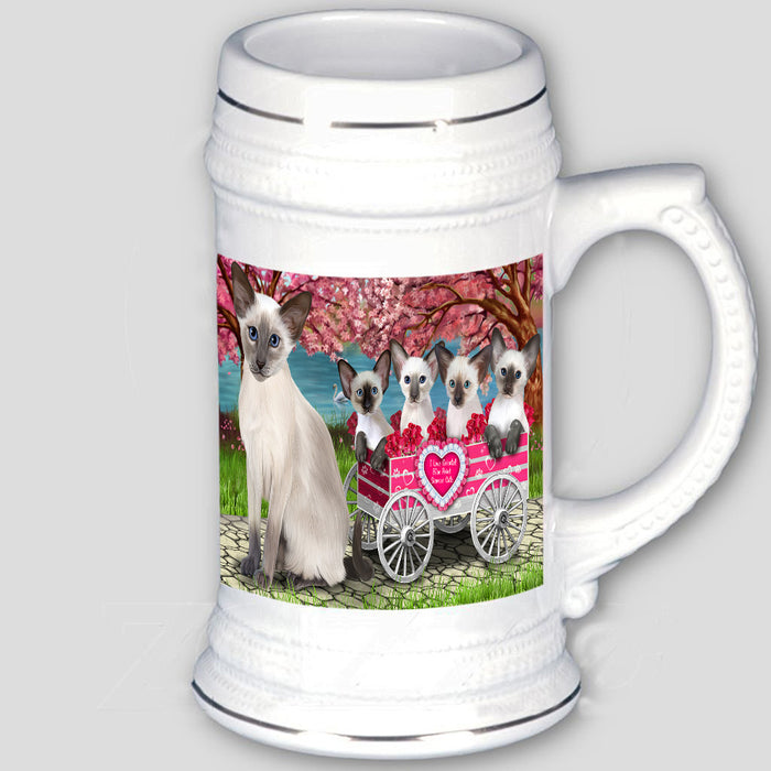 I Love Oriental Blue Point Siamese Cats in a Cart Beer Stein BST57007