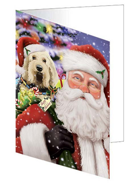 Santa Carrying Otterhound Dog and Christmas Presents Note Card NCD71054
