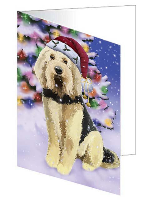 Winterland Wonderland Otterhound Dog In Christmas Holiday Scenic Background Note Card NCD71645