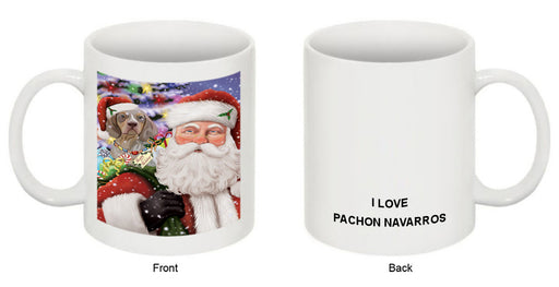 Santa Carrying Pachon Navarro Dog and Christmas Presents Coffee Mug MUG50912