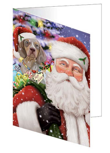 Santa Carrying Pachon Navarro Dog and Christmas Presents Greeting Card GCD71057