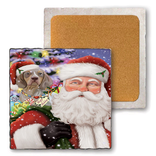 Santa Carrying Pachon Navarro Dog and Christmas Presents Set of 4 Natural Stone Marble Tile Coasters MCST50514