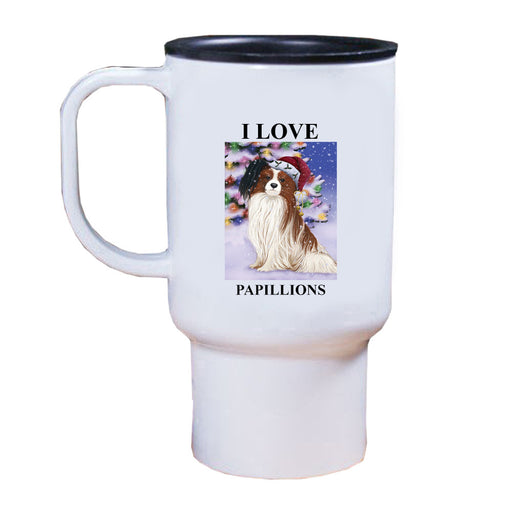 Winterland Wonderland Papillion Dog In Christmas Holiday Scenic Background Travel Mug TRAV50947