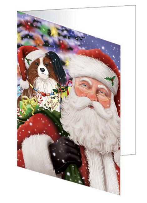 Santa Carrying Papillion Dog and Christmas Presents Greeting Card GCD71060