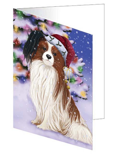 Winterland Wonderland Papillion Dog In Christmas Holiday Scenic Background Greeting Card GCD71651