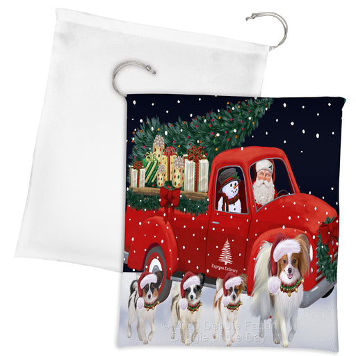 Christmas Express Delivery Red Truck Running Papillon Dogs Drawstring Laundry or Gift Bag LGB48915