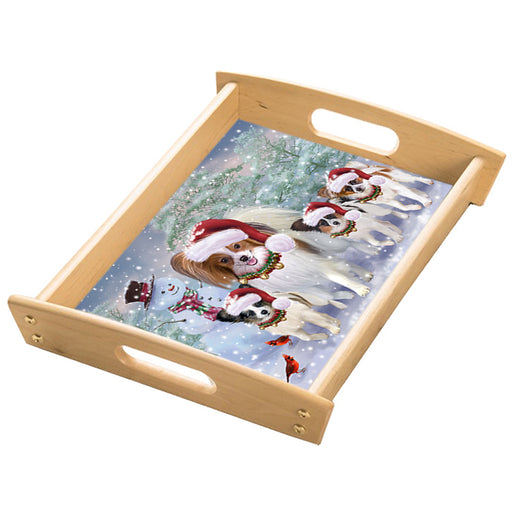 Christmas Running Family Papillon Dogs Wood Serving Tray with Handles Natural TRA49856