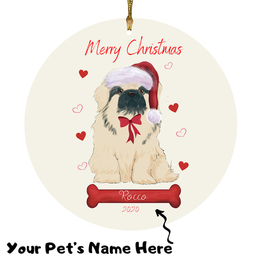 Personalized Merry Christmas  Pekingese Dog Christmas Tree Round Flat Ornament RBPOR58983