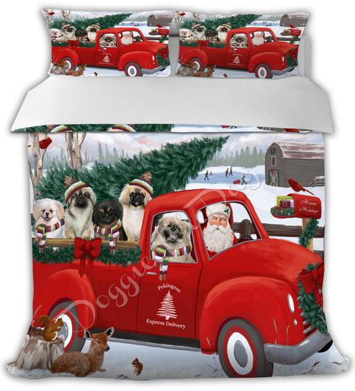 Christmas Santa Express Delivery Red Truck Pekingese Dogs Bed Duvet Cover DVTCVR48441
