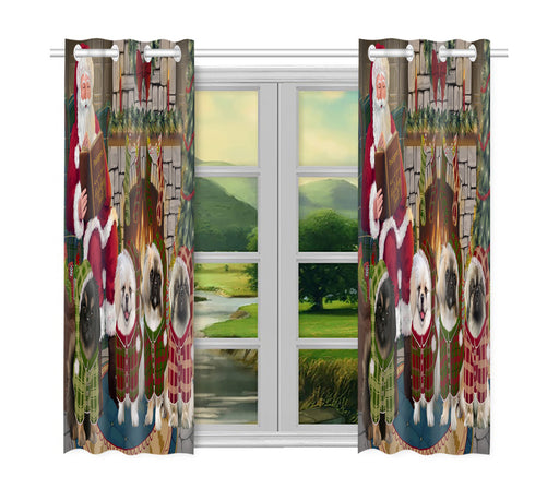Christmas Cozy Holiday Fire Tails Pekingese Dogs Window Curtain
