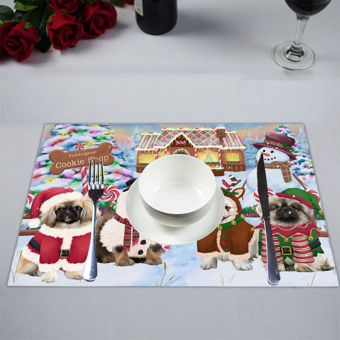 Holiday Gingerbread Cookie Pekingese Dogs Placemat