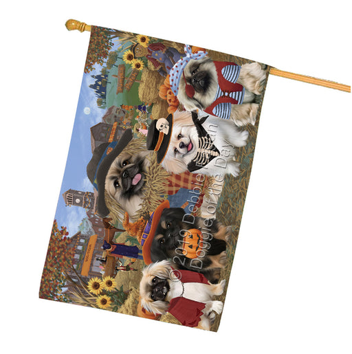 Halloween Round Town And Fall Pumpking Scarecrow Both Pekingese Dogs Garden Flag GFLG65614