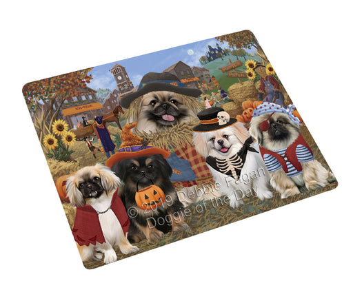 "Halloween 'Round Town And Fall Pumpkin Scarecrow Both Pekingese Dogs Magnet MAG77173 (Mini 3.5"" x 2"")"