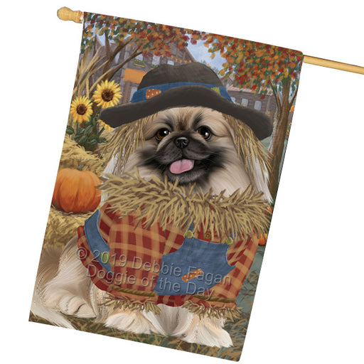 Halloween Round Town And Fall Pumpking Scarecrow Both Pekingese Dogs Garden Flag GFLG65675
