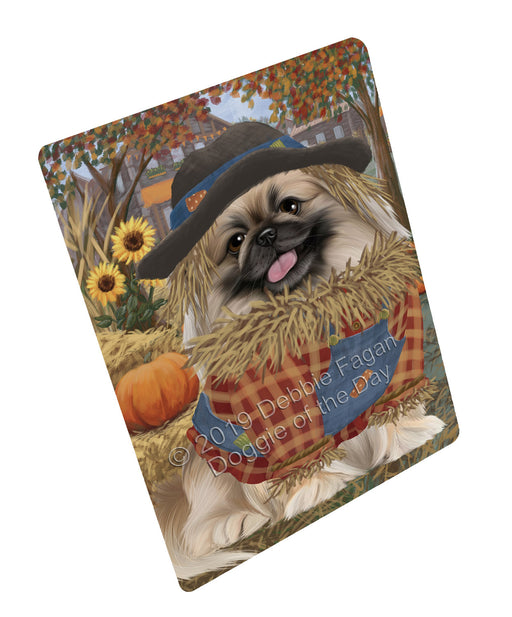 Halloween 'Round Town And Fall Pumpkin Scarecrow Both Pekingese Dogs Large Refrigerator / Dishwasher Magnet RMAG104880
