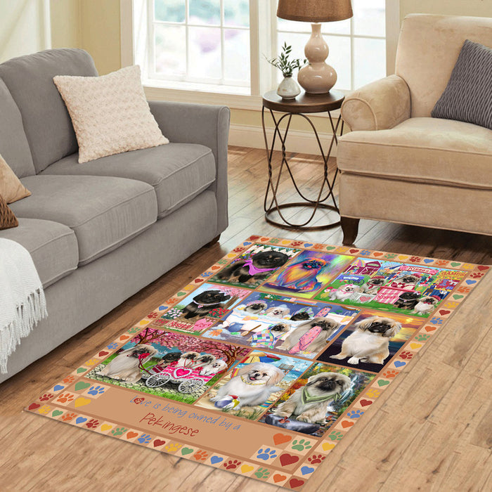Love is Being Owned Pekingese Dog Beige Area Rug