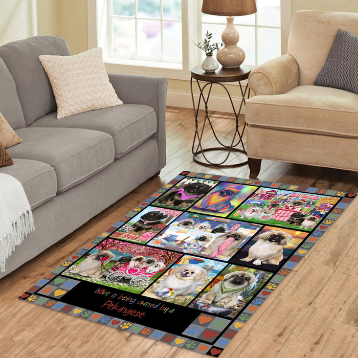 Love is Being Owned Pekingese Dog Grey Area Rug