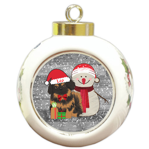 Custom Personalized Snowy Snowman and Pekingese Dog Christmas Round Ball Ornament