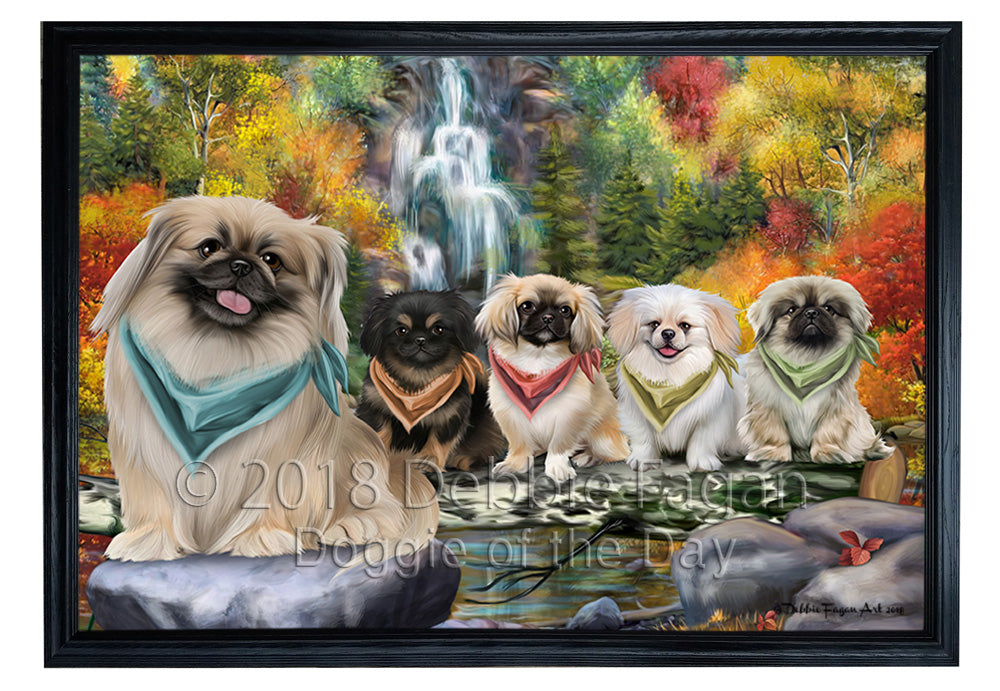 Scenic Waterfall Pekingeses Dog Framed Canvas Print Wall Art BRFRMCVS72888