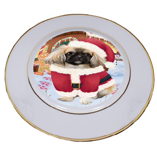 Christmas Gingerbread House Candyfest Pekingese Dog Porcelain Plate PLT54817