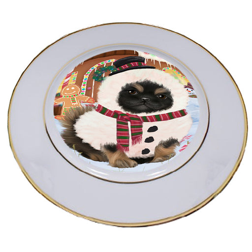 Christmas Gingerbread House Candyfest Pekingese Dog Porcelain Plate PLT54818