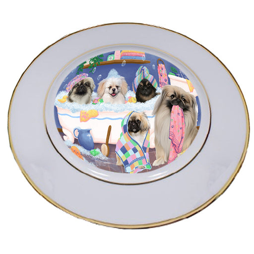 Rub A Dub Dogs In A Tub Pekingeses Dog Porcelain Plate PLT55155
