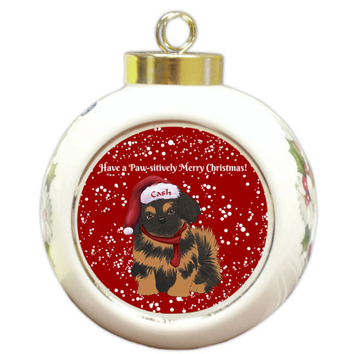 Custom Personalized Pawsitively Pekingese Dog Merry Christmas Round Ball Ornament