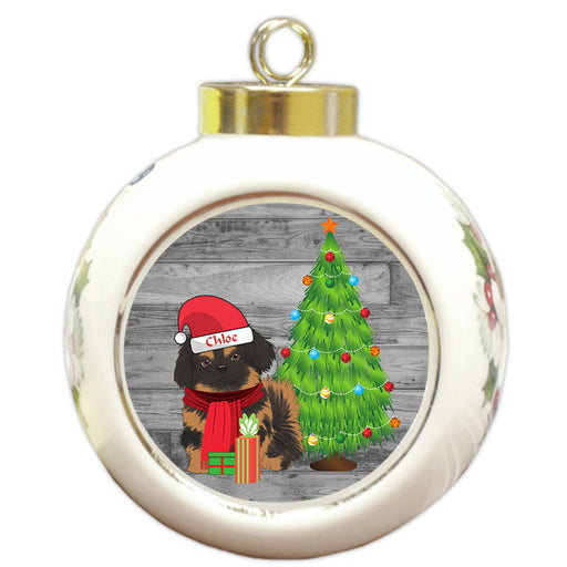 Custom Personalized Pekingese Dog With Tree and Presents Christmas Round Ball Ornament