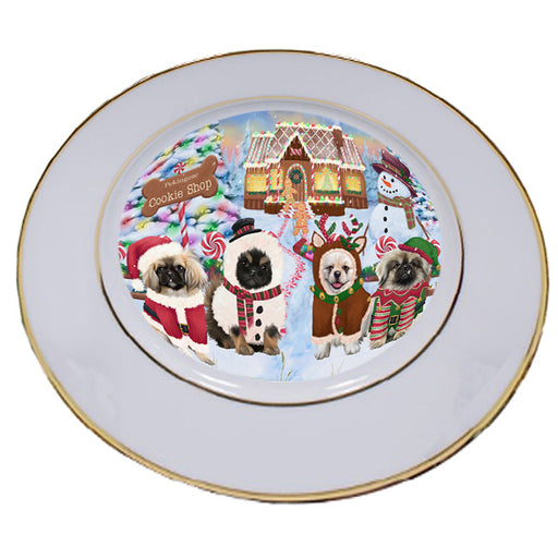 Holiday Gingerbread Cookie Shop Pekingeses Dog Porcelain Plate PLT54856